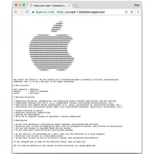 Apple uses hidden webpage to recruit cloud infrastructure engineer