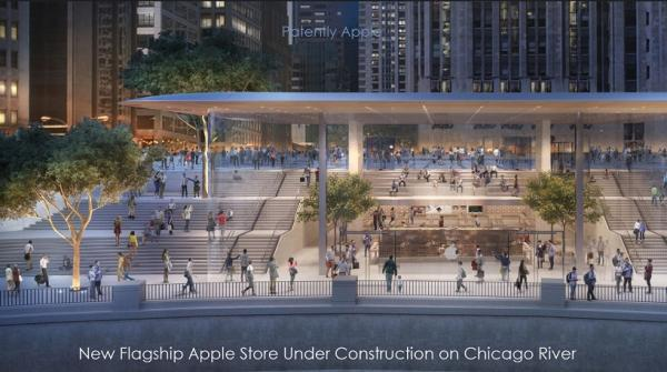 Apple's Massive Glass Store under Construction on Magnificent Mile near Chicago's Waterfront is one of a Kind