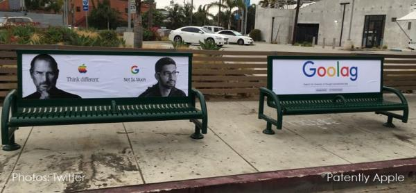 photo image Street Artist Plasters Fake Anti-Google Ads in California over James Damore Dismissal
