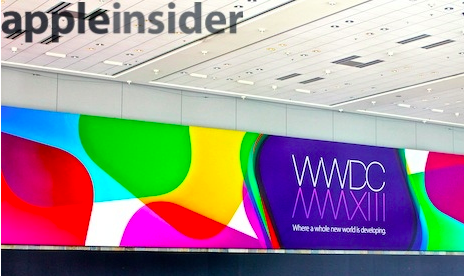 photo image Apple installing WWDC banners: