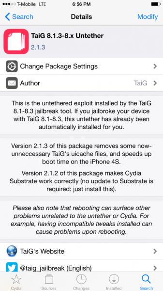 TaiG 2.1.3 Untether update released on default Cydia repos