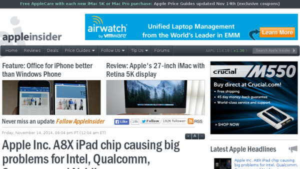 Apple Inc. A8X iPad chip causing big problems for Intel, Qualcomm, Samsung and Nvidia