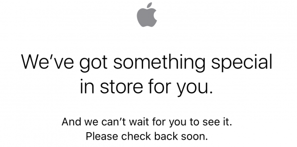 Apple Store app displaying 'we've got something special in store for you' message, online store still up