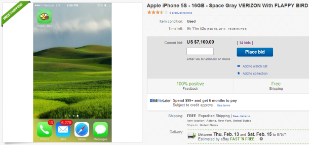 You can't actually sell your Flappy Bird phone on eBay