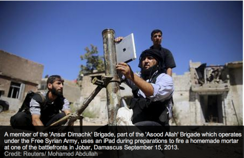 photo image Syrian Rebels use iPads to aim homemade mortars