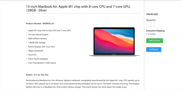 photo of Education-only 128GB M1 MacBook Air available for $799 image
