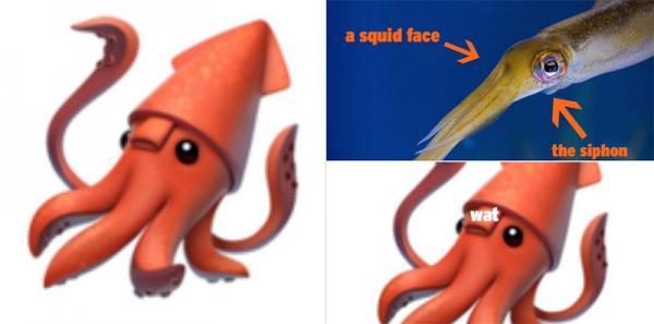 photo image Scientific community up in tentacles over Apple's 'upside down' squid emoji