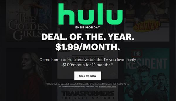 Black Friday 2019: Hulu drops TV…