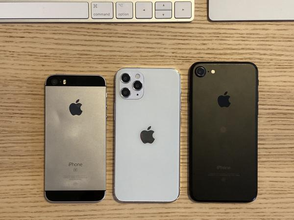 5.4-Inch iPhone 12 Model Size Compared to Original iPhone SE and iPhone 7