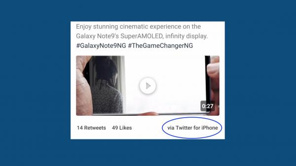 photo image Samsung promotes Galaxy Note 9 display on Twitter … while tweeting from an iPhone