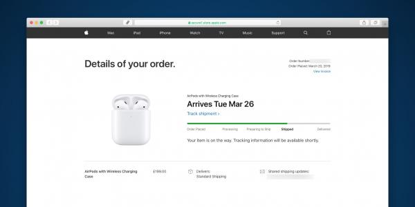 Apple AirPods 2 orders now shipping,…