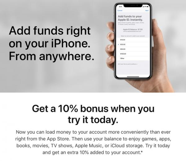 photo image Apple Offering 10% Bonus When Adding Funds to Your Account for App Store and iTunes Purchases