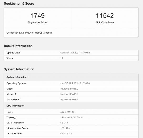 First Apparent Geekbench Score Surfaces…
