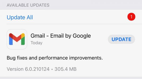 Gmail for iOS Updated for the First Time…
