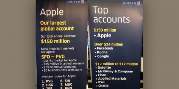 photo image United Airlines takes down poster that revealed Apple is its largest corporate spender